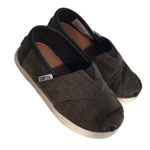 TOMS Khaki Green Canvas Slip On Toddler Shoes